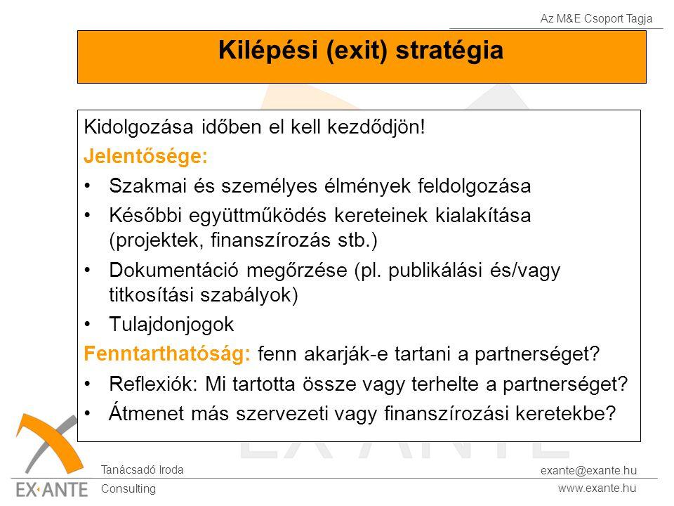 Az M&E Csoport Tagja Tanácsadó Iroda www.exante.hu Consulting exante@exante.hu Kilépési (exit) stratégia Kidolgozása időben el kell kezdődjön! Jelentő
