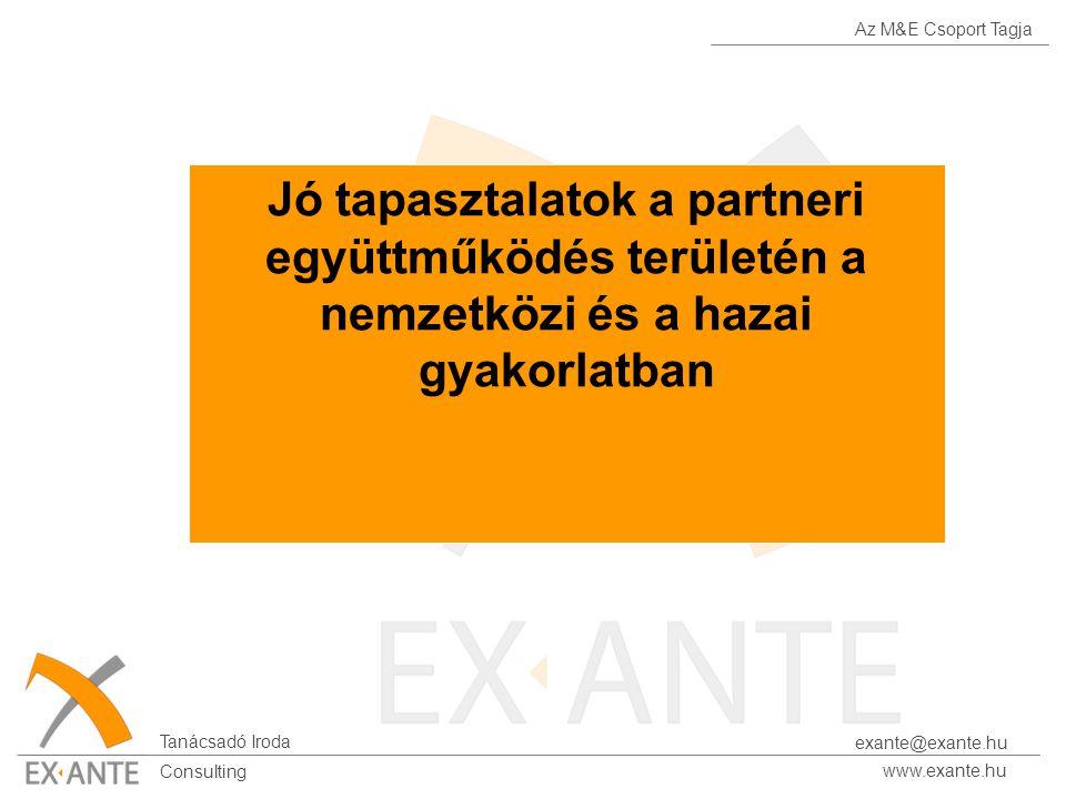Az M&E Csoport Tagja Tanácsadó Iroda www.exante.hu Consulting exante@exante.hu Jó tapasztalatok a partneri együttműködés területén a nemzetközi és a h