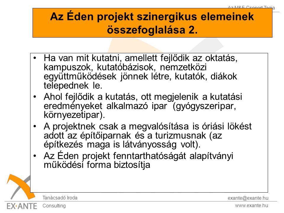 Az M&E Csoport Tagja Tanácsadó Iroda www.exante.hu Consulting exante@exante.hu Az Éden projekt szinergikus elemeinek összefoglalása 2.