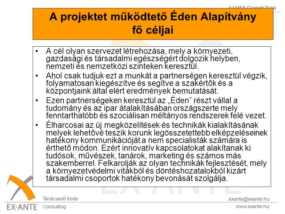 Az M&E Csoport Tagja Tanácsadó Iroda www.exante.hu Consulting exante@exante.hu A projektet működtető Éden Alapítvány fő céljai A cél olyan szervezet l