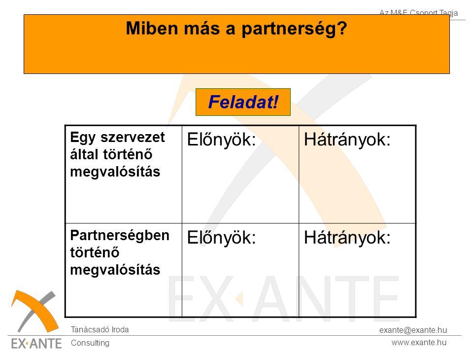 Az M&E Csoport Tagja Tanácsadó Iroda www.exante.hu Consulting exante@exante.hu Miben más a partnerség? Egy szervezet által történő megvalósítás Előnyö