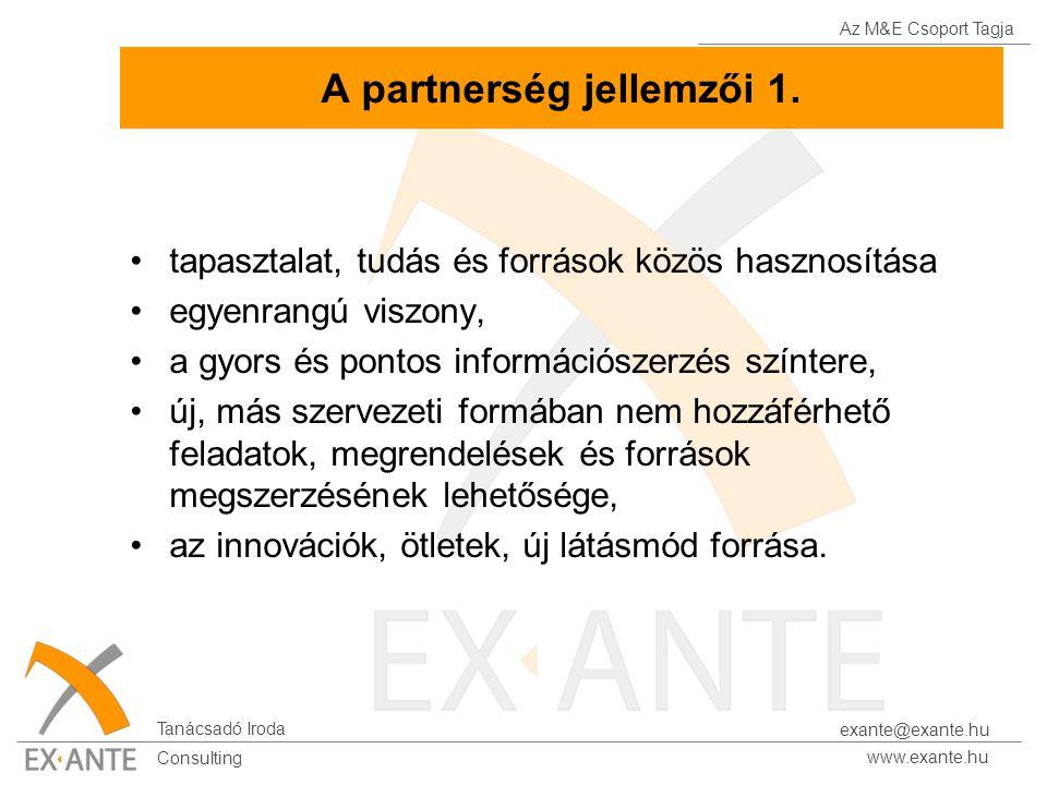 Az M&E Csoport Tagja Tanácsadó Iroda www.exante.hu Consulting exante@exante.hu A partnerség jellemzői 1. tapasztalat, tudás és források közös hasznosí
