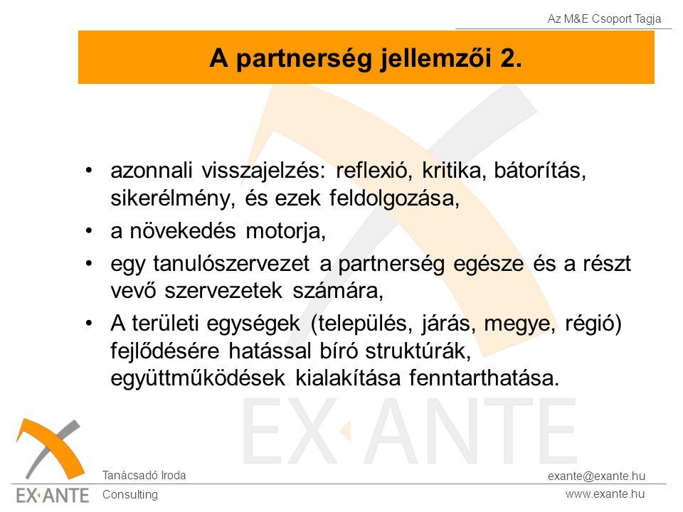 Az M&E Csoport Tagja Tanácsadó Iroda www.exante.hu Consulting exante@exante.hu A partnerség jellemzői 2. azonnali visszajelzés: reflexió, kritika, bát