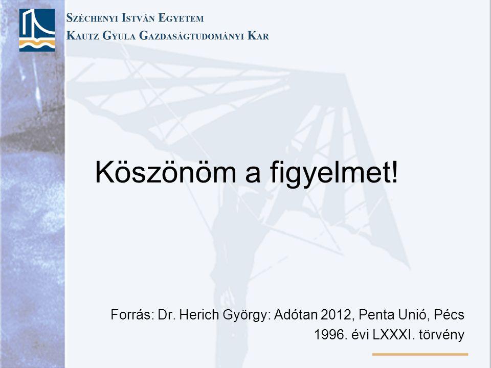 Köszönöm a figyelmet! Forrás: Dr. Herich György: Adótan 2012, Penta Unió, Pécs 1996. évi LXXXI. törvény