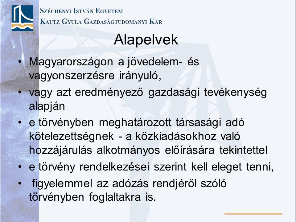 Alapelvek Magyarországon a jövedelem- és vagyonszerzésre irányuló, vagy azt eredményező gazdasági tevékenység alapján e törvényben meghatározott társa