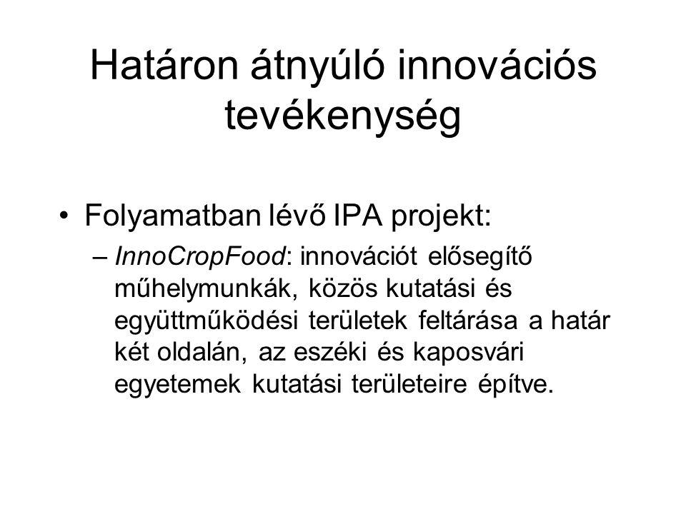 Határon átnyúló innovációs tevékenység Folyamatban lévő IPA projekt: –InnoCropFood: innovációt elősegítő műhelymunkák, közös kutatási és együttműködés
