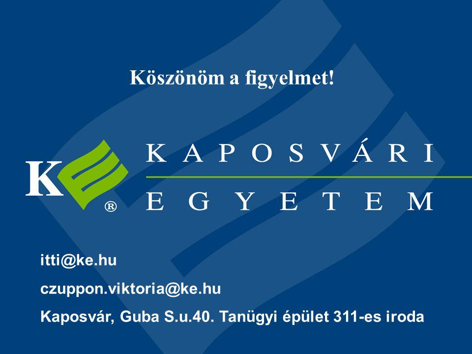 Köszönöm a figyelmet! itti@ke.hu czuppon.viktoria@ke.hu Kaposvár, Guba S.u.40. Tanügyi épület 311-es iroda