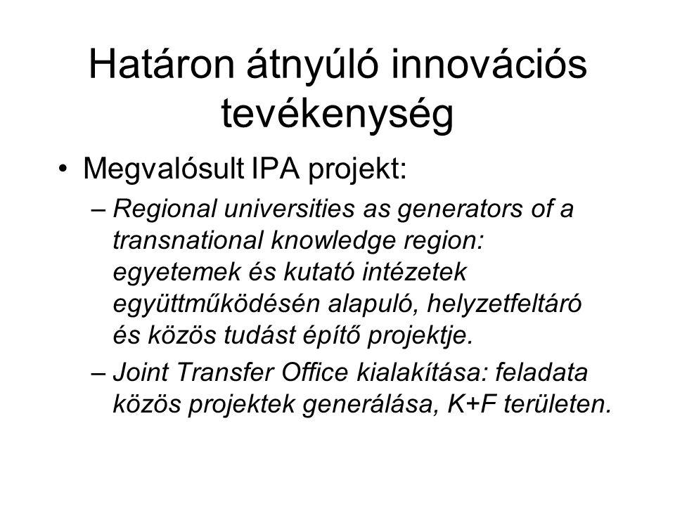Határon átnyúló innovációs tevékenység Megvalósult IPA projekt: –Regional universities as generators of a transnational knowledge region: egyetemek és kutató intézetek együttműködésén alapuló, helyzetfeltáró és közös tudást építő projektje.