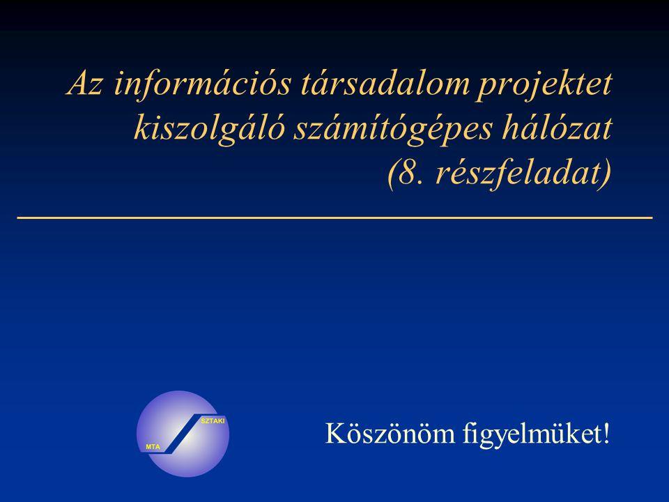 Az információs társadalom projektet kiszolgáló számítógépes hálózat (8.
