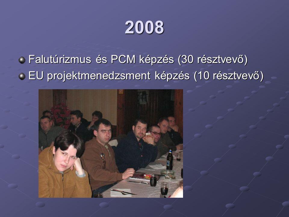 2008 Falutúrizmus és PCM képzés (30 résztvevő) EU projektmenedzsment képzés (10 résztvevő)
