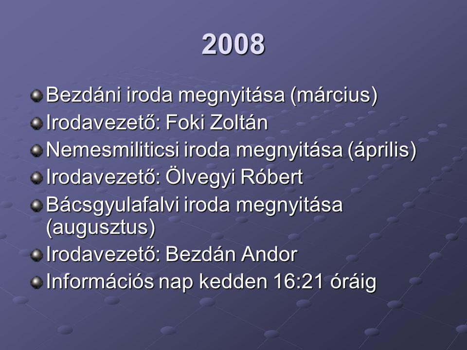 2008 Bezdáni iroda megnyitása (március) Irodavezető: Foki Zoltán Nemesmiliticsi iroda megnyitása (április) Irodavezető: Ölvegyi Róbert Bácsgyulafalvi