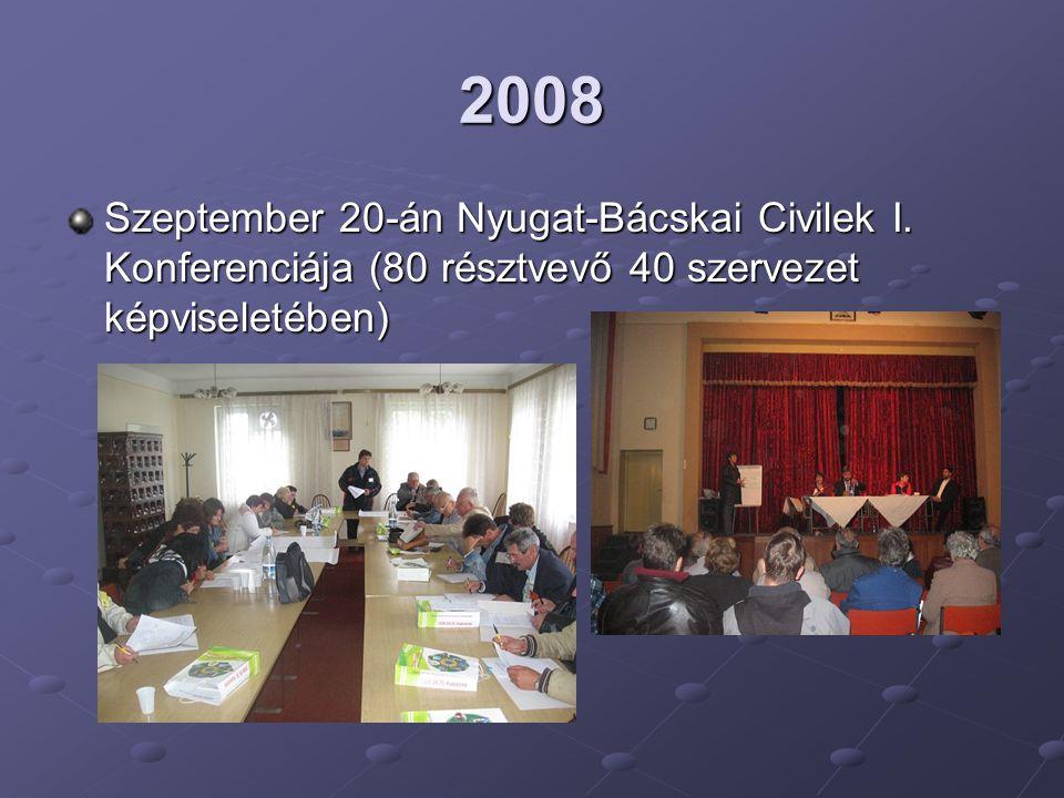 2008 Szeptember 20-án Nyugat-Bácskai Civilek I. Konferenciája (80 résztvevő 40 szervezet képviseletében)