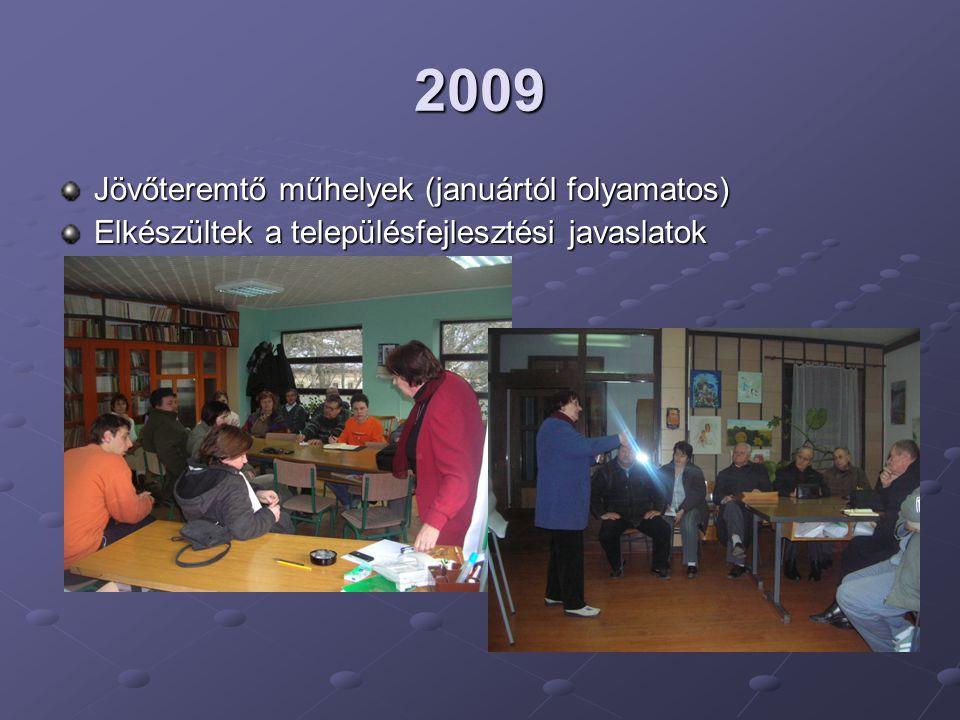 2009 Jövőteremtő műhelyek (januártól folyamatos) Elkészültek a településfejlesztési javaslatok