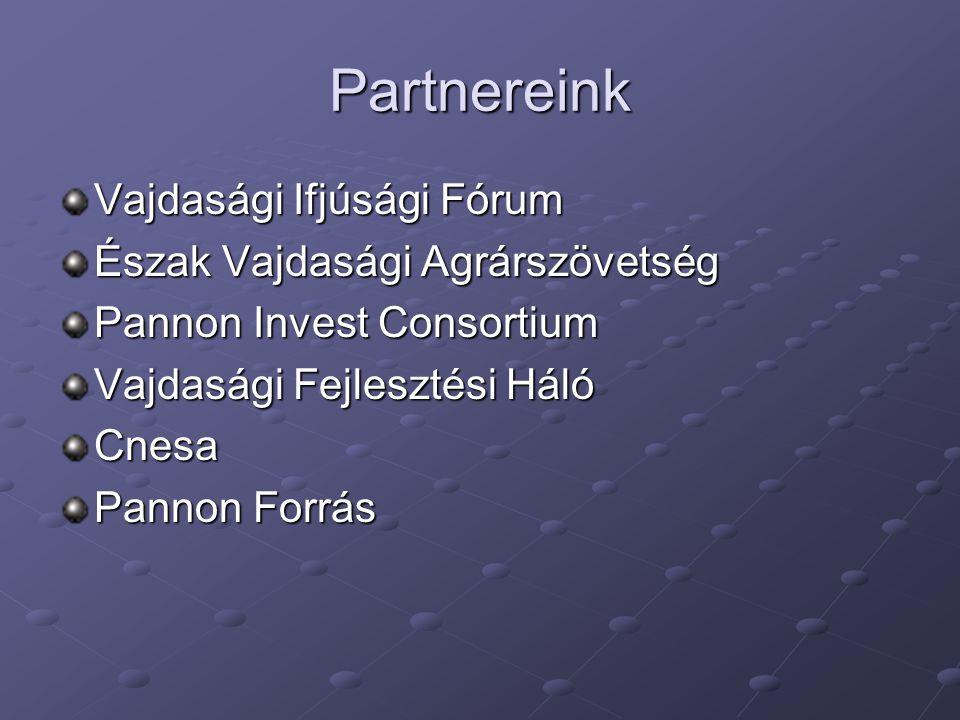 Partnereink Vajdasági Ifjúsági Fórum Észak Vajdasági Agrárszövetség Pannon Invest Consortium Vajdasági Fejlesztési Háló Cnesa Pannon Forrás