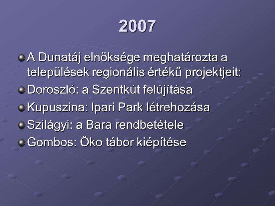 2007 A Dunatáj elnöksége meghatározta a települések regionális értékű projektjeit: Doroszló: a Szentkút felújítása Kupuszina: Ipari Park létrehozása S