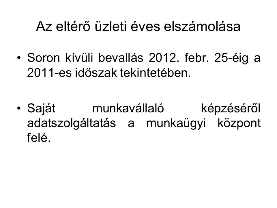 Az eltérő üzleti éves elszámolása Soron kívüli bevallás 2012.