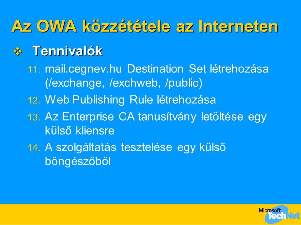 Az OWA közzététele az Interneten  Tennivalók 11. mail.cegnev.hu Destination Set létrehozása (/exchange, /exchweb, /public) 12. Web Publishing Rule lé