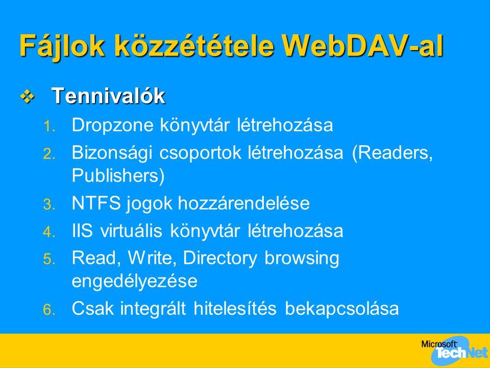 Fájlok közzététele WebDAV-al  Tennivalók 1. Dropzone könyvtár létrehozása 2. Bizonsági csoportok létrehozása (Readers, Publishers) 3. NTFS jogok hozz