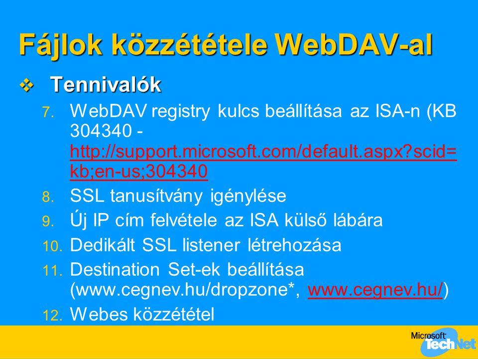 Fájlok közzététele WebDAV-al  Tennivalók 7. WebDAV registry kulcs beállítása az ISA-n (KB 304340 - http://support.microsoft.com/default.aspx?scid= kb