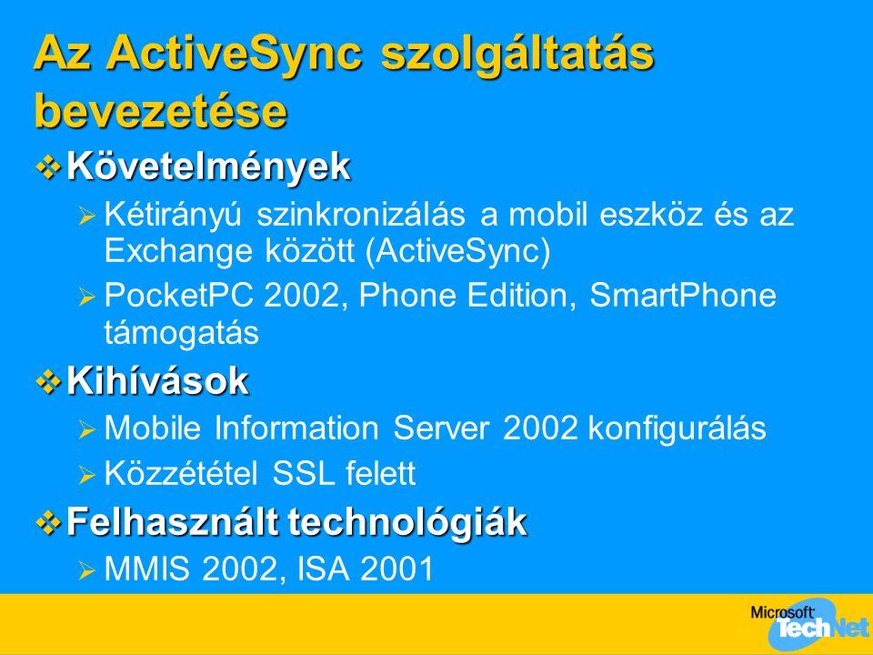 Az ActiveSync szolgáltatás bevezetése  Követelmények  Kétirányú szinkronizálás a mobil eszköz és az Exchange között (ActiveSync)  PocketPC 2002, Ph