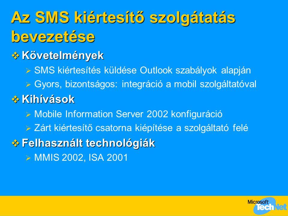 Az SMS kiértesítő szolgátatás bevezetése  Követelmények  SMS kiértesítés küldése Outlook szabályok alapján  Gyors, bizontságos: integráció a mobil