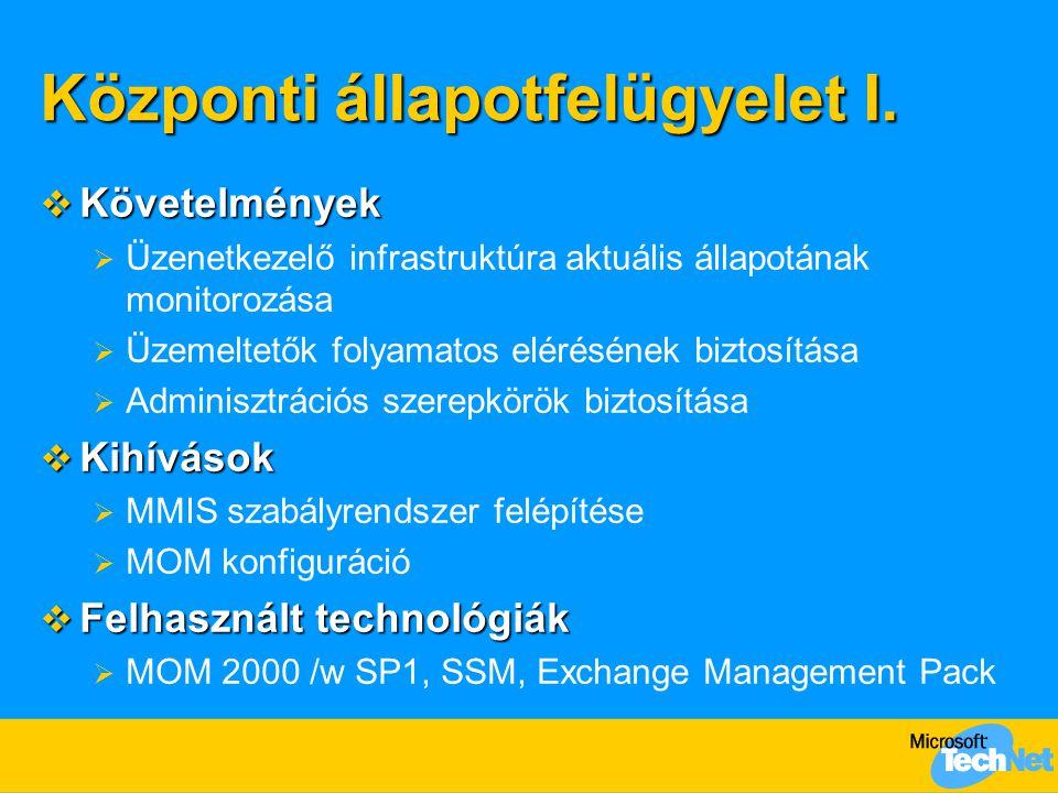 Központi állapotfelügyelet I.  Követelmények  Üzenetkezelő infrastruktúra aktuális állapotának monitorozása  Üzemeltetők folyamatos elérésének bizt