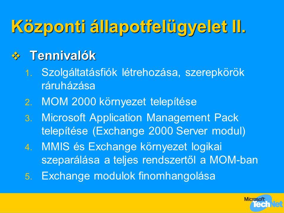 Központi állapotfelügyelet II.  Tennivalók 1. Szolgáltatásfiók létrehozása, szerepkörök ráruházása 2. MOM 2000 környezet telepítése 3. Microsoft Appl