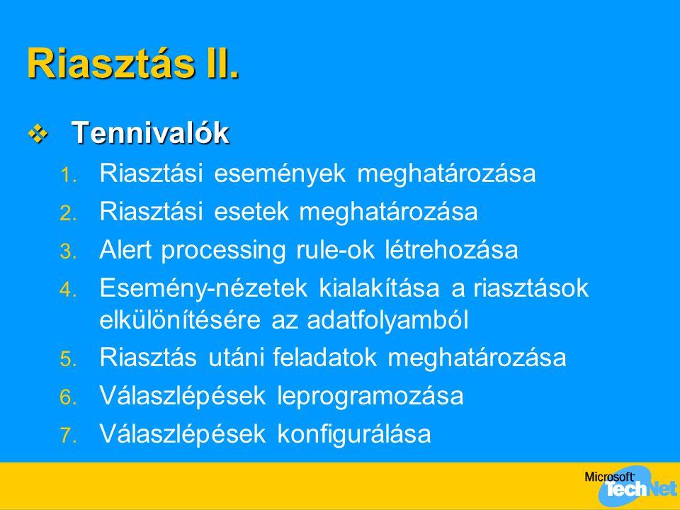 Riasztás II.  Tennivalók 1. Riasztási események meghatározása 2. Riasztási esetek meghatározása 3. Alert processing rule-ok létrehozása 4. Esemény-né