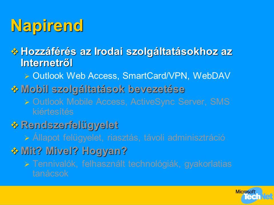 Napirend  Hozzáférés az Irodai szolgáltatásokhoz az Internetről  Outlook Web Access, SmartCard/VPN, WebDAV  Mobil szolgáltatások bevezetése  Outlook Mobile Access, ActiveSync Server, SMS kiértesítés  Rendszerfelügyelet  Állapot felügyelet, riasztás, távoli adminisztráció  Mit.