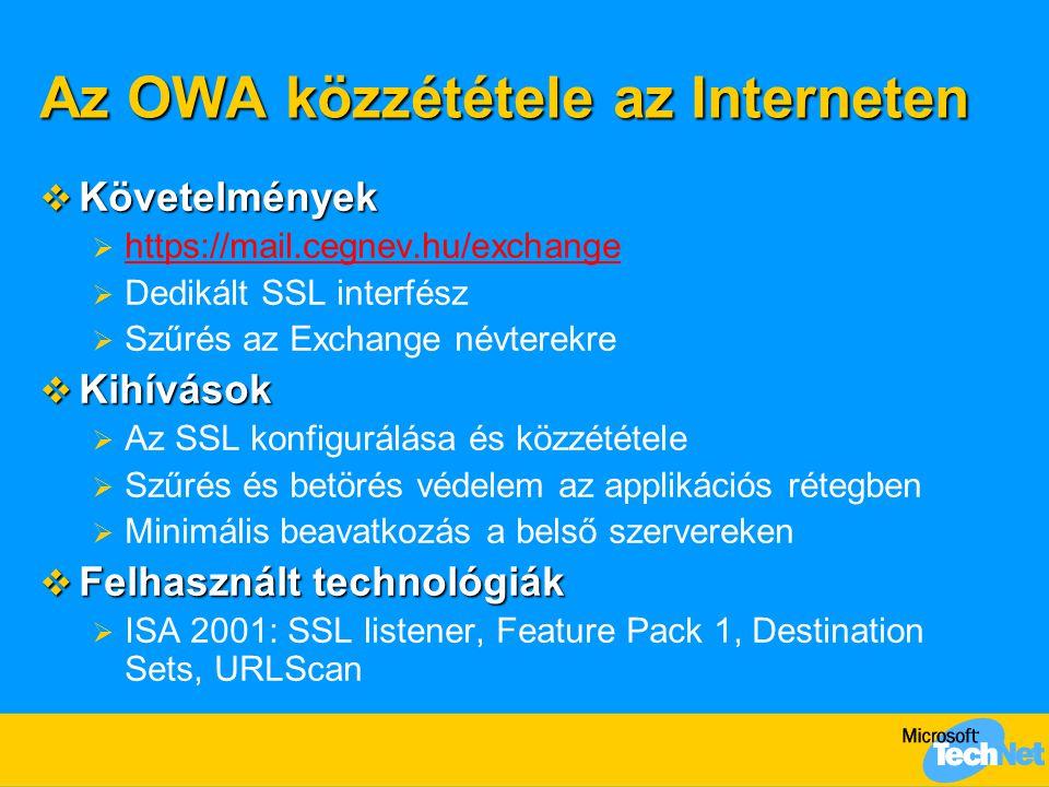 """Az OWA közzététele az Interneten ISA 2000 Feature Pack 1 DC Cert.Srv """"Az Iroda Outlook Web Access https://mail.cegnev.hu/exchange SSL 128-bit Port 443 Dedikált SSL listener SSL bridging Web Publishing URLScan OWA közzététel Basic Auth."""