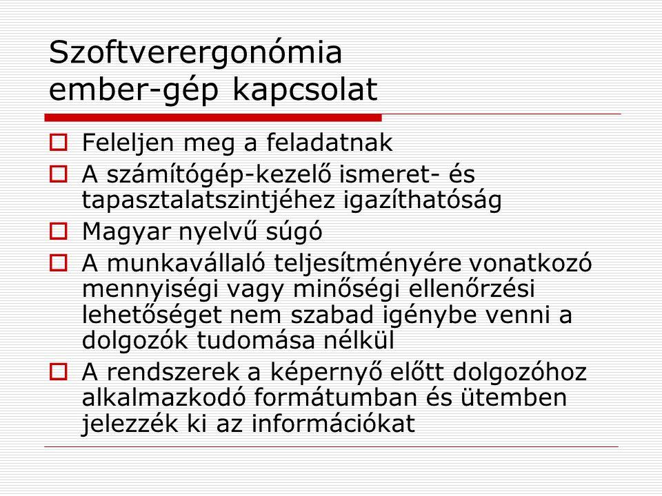 Szoftverergonómia ember-gép kapcsolat  Feleljen meg a feladatnak  A számítógép-kezelő ismeret- és tapasztalatszintjéhez igazíthatóság  Magyar nyelv