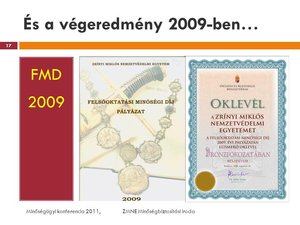 És a végeredmény 2009-ben… FMD 2009 Minőségügyi konferencia 2011, ZMNE Minőségbiztosítási Iroda 17