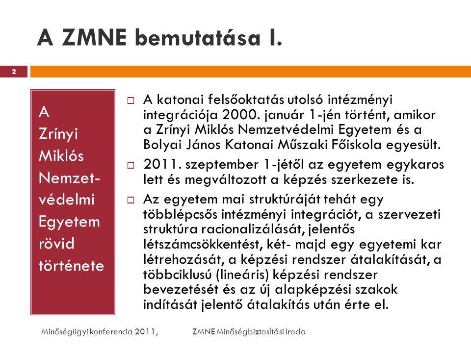 A ZMNE bemutatása I. A Zrínyi Miklós Nemzet- védelmi Egyetem rövid története  A katonai felsőoktatás utolsó intézményi integrációja 2000. január 1-jé