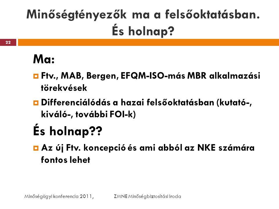 Minőségtényezők ma a felsőoktatásban. És holnap? Ma:  Ftv., MAB, Bergen, EFQM-ISO-más MBR alkalmazási törekvések  Differenciálódás a hazai felsőokta