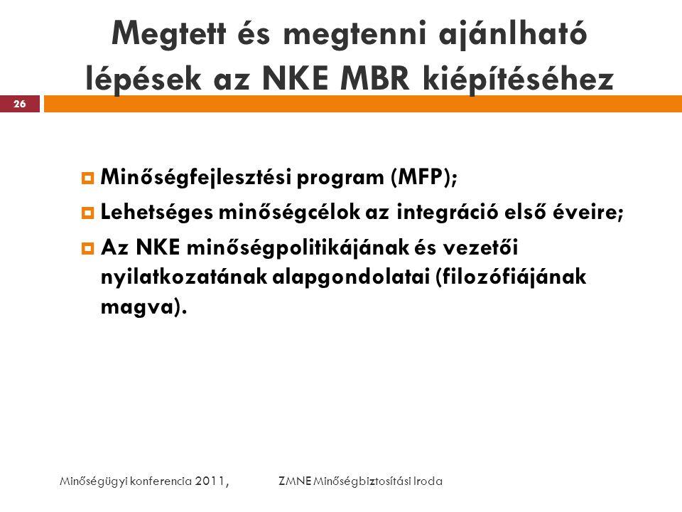Megtett és megtenni ajánlható lépések az NKE MBR kiépítéséhez  Minőségfejlesztési program (MFP);  Lehetséges minőségcélok az integráció első éveire;