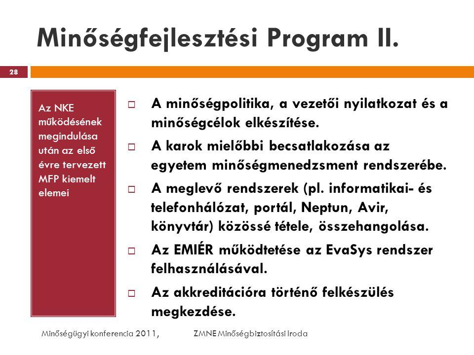 Minőségfejlesztési Program II. Az NKE működésének megindulása után az első évre tervezett MFP kiemelt elemei  A minőségpolitika, a vezetői nyilatkoza