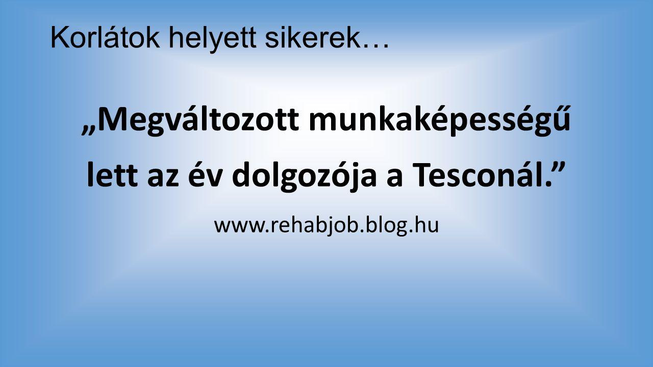 """Korlátok helyett sikerek… """"Megváltozott munkaképességű lett az év dolgozója a Tesconál."""" www.rehabjob.blog.hu"""