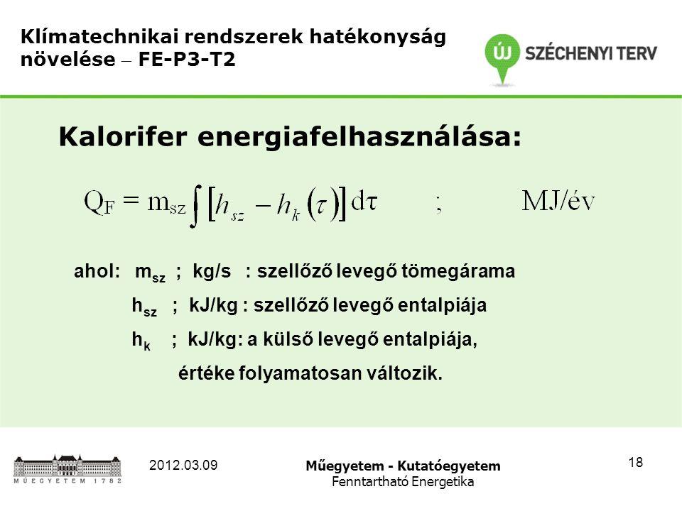 Műegyetem - Kutatóegyetem Fenntartható Energetika 2012.03.09 18 Klímatechnikai rendszerek hatékonyság növelése  FE-P3-T2 Kalorifer energiafelhasználása: ahol: m sz ; kg/s : szellőző levegő tömegárama h sz ; kJ/kg : szellőző levegő entalpiája h k ; kJ/kg: a külső levegő entalpiája, értéke folyamatosan változik.