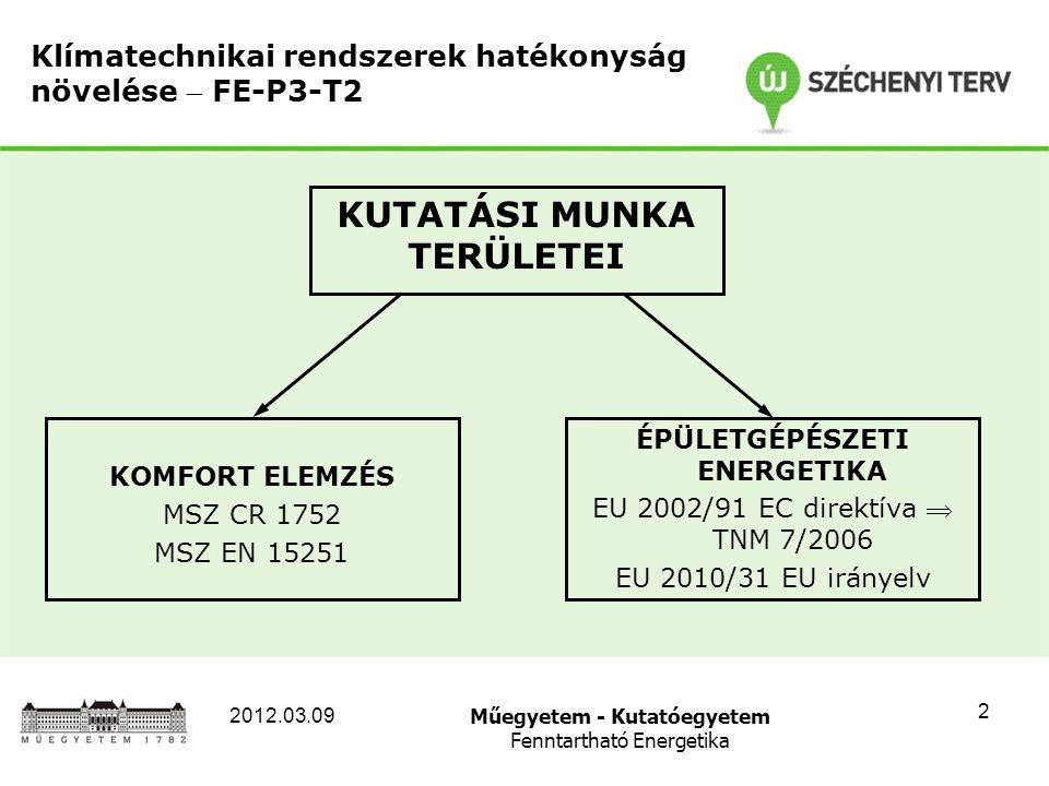 Műegyetem - Kutatóegyetem Fenntartható Energetika 2012.03.09 2 Klímatechnikai rendszerek hatékonyság növelése  FE-P3-T2 KOMFORT ELEMZÉS MSZ CR 1752 MSZ EN 15251 ÉPÜLETGÉPÉSZETI ENERGETIKA EU 2002/91 EC direktíva  TNM 7/2006 EU 2010/31 EU irányelv KUTATÁSI MUNKA TERÜLETEI