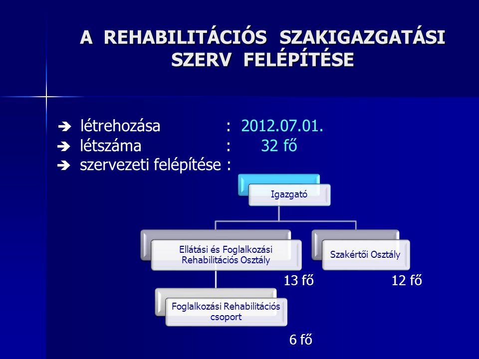 """Minősítési kategóriák A : rehabilitáció nélkül foglalkoztatható (60% feletti egészségi állapot) B1 : foglalkoztathatósága rehabilitációval helyreállítható (51-60% közötti egészségi állapot) B2 : egészségi állapota alapján rehabilitálható, azonban a 7/2012.(II.14.) NEFMI rendeletében meghatározottak szerinti """"a rehabilitálhatóság foglalkoztatási szempontú , vagy """"a rehabilitálhatóság szociális szempontú vizsgálata alapján rehabilitációja nem javasolt (51-60% közötti egészségi állapot) C1 : tartós foglalkozási rehabilitációt igénylő személy (31-50% közötti egészségi állapot) C2 : egészségi állapota alapján tartós rehabilitációt igényel, azonban a végrehajtási rendelet mellékleteiben meghatározott egyéb körülményei alapján nem foglalkoztatható, rehabilitációja nem javasolt (31-50% közötti egészségi állapot) D : orvosszakmai szempontból önellátásra képes, csak folyamatos támogatással foglalkoztatható személy (1-30% közötti egészségi állapot) E : egészségkárosodása jelentős, önellátásra egyáltalán nem, vagy csak segítséggel képes (1-30% közötti egészségi állapot)"""