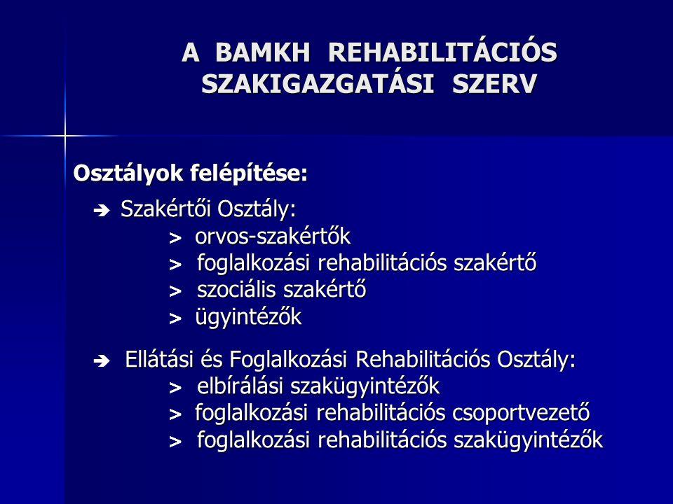 A BAMKH REHABILITÁCIÓS SZAKIGAZGATÁSI SZERV Szervezeti egységeinek elhelyezése:  Szakértői Osztály: 7633 Pécs, Dr.