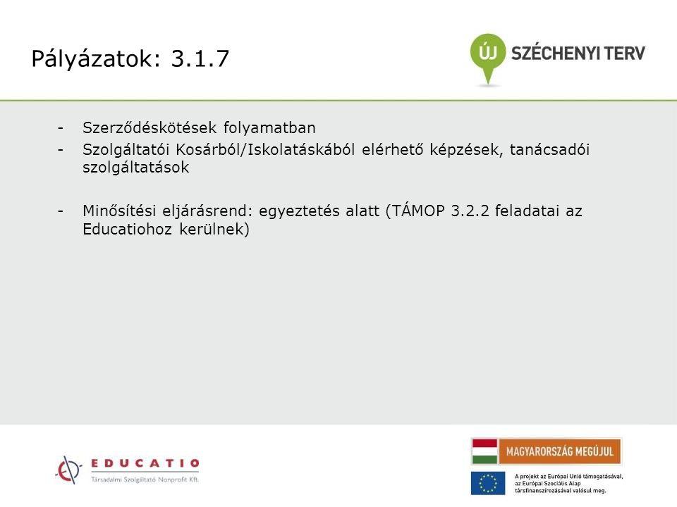-Szerződéskötések folyamatban -Szolgáltatói Kosárból/Iskolatáskából elérhető képzések, tanácsadói szolgáltatások -Minősítési eljárásrend: egyeztetés alatt (TÁMOP 3.2.2 feladatai az Educatiohoz kerülnek) Pályázatok: 3.1.7