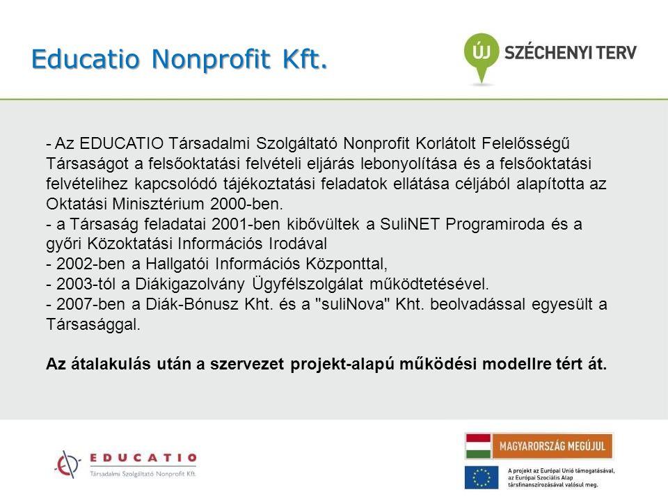 Educatio Nonprofit Kft. - Az EDUCATIO Társadalmi Szolgáltató Nonprofit Korlátolt Felelősségű Társaságot a felsőoktatási felvételi eljárás lebonyolítás