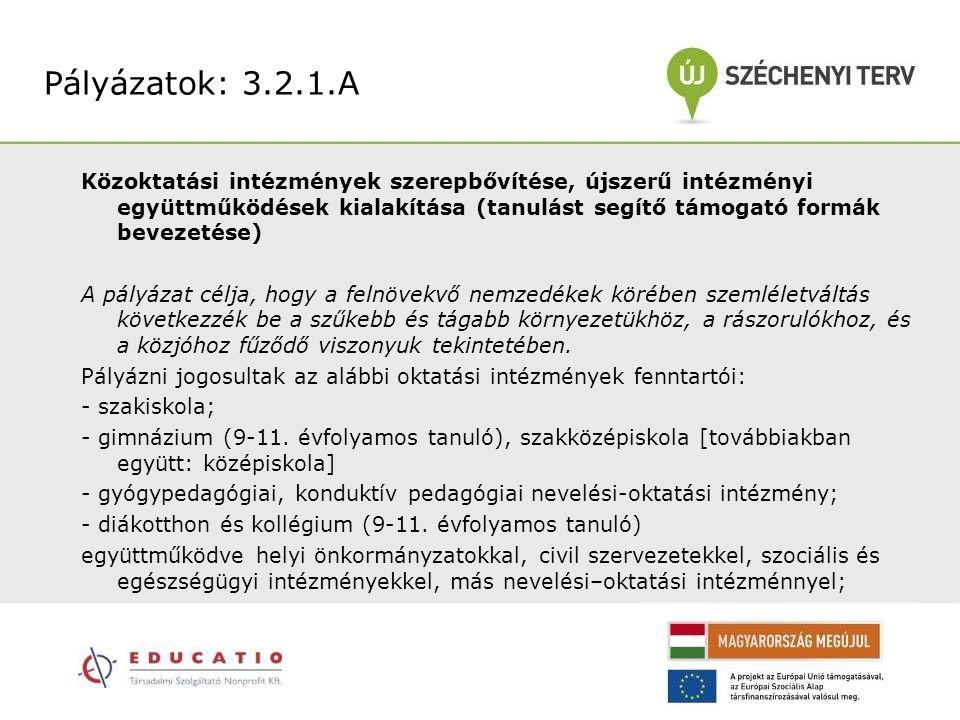 Közoktatási intézmények szerepbővítése, újszerű intézményi együttműködések kialakítása (tanulást segítő támogató formák bevezetése) A pályázat célja,