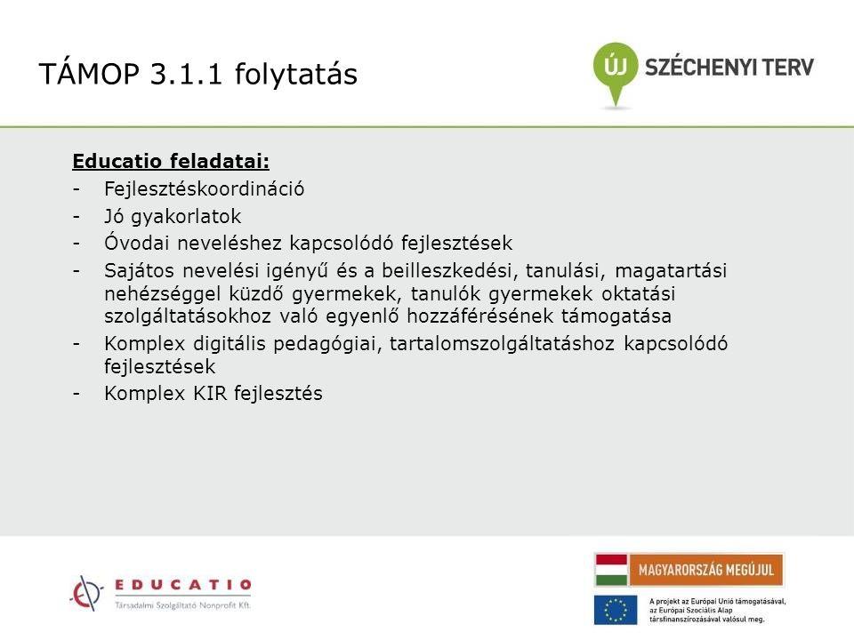 Educatio feladatai: -Fejlesztéskoordináció -Jó gyakorlatok -Óvodai neveléshez kapcsolódó fejlesztések -Sajátos nevelési igényű és a beilleszkedési, ta