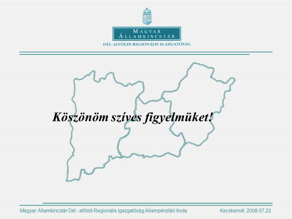 Magyar Államkincstár Dél - alföldi Regionális Igazgatóság Állampénztári Iroda Kecskemét, 2008.07.22.
