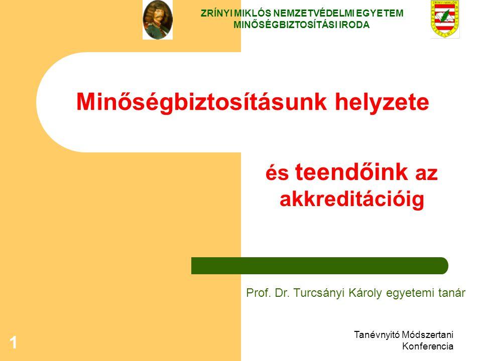 Tanévnyitó Módszertani Konferencia 1 Minőségbiztosításunk helyzete ZRÍNYI MIKLÓS NEMZETVÉDELMI EGYETEM MINŐSÉGBIZTOSÍTÁSI IRODA Prof. Dr. Turcsányi Ká