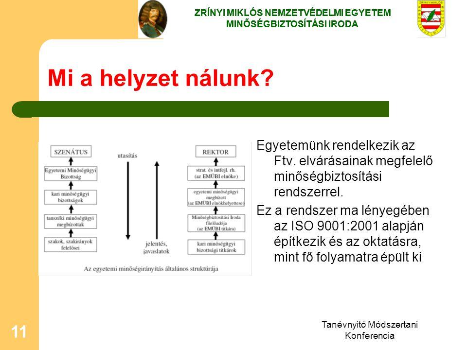 Tanévnyitó Módszertani Konferencia 11 Mi a helyzet nálunk? Egyetemünk rendelkezik az Ftv. elvárásainak megfelelő minőségbiztosítási rendszerrel. Ez a