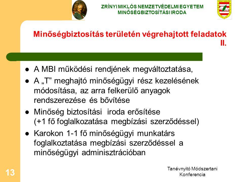 """Tanévnyitó Módszertani Konferencia 13 Minőségbiztosítás területén végrehajtott feladatok II. A MBI működési rendjének megváltoztatása, A """"T"""" meghajtó"""