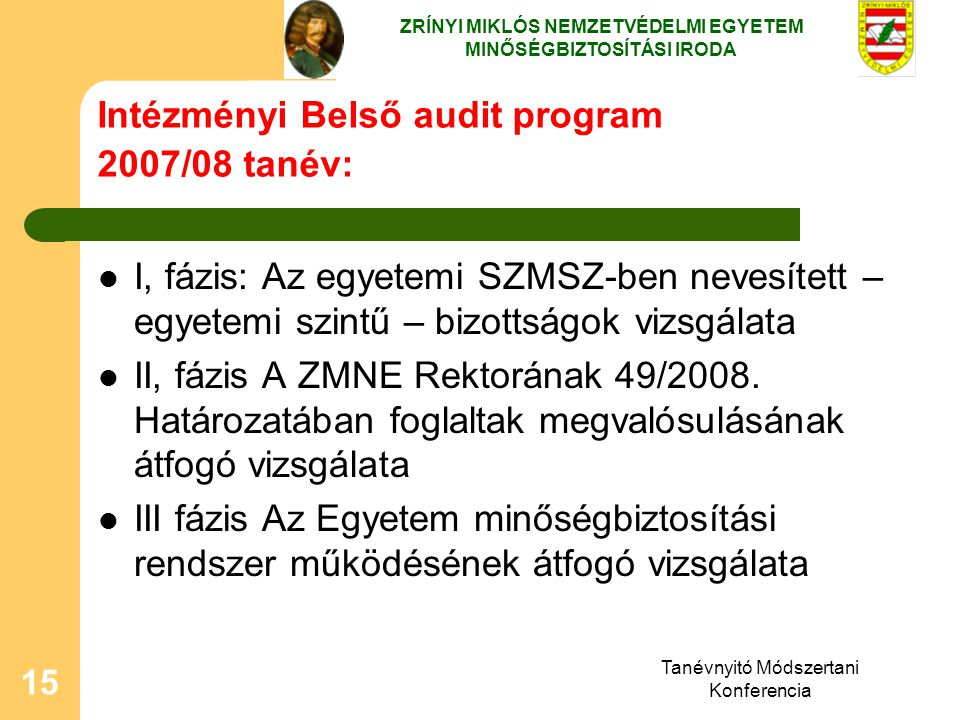 Tanévnyitó Módszertani Konferencia 15 Intézményi Belső audit program 2007/08 tanév: I, fázis: Az egyetemi SZMSZ-ben nevesített – egyetemi szintű – biz